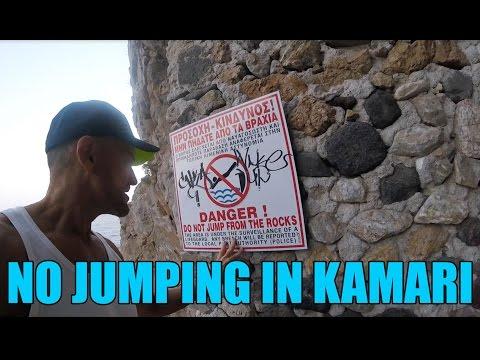 NO JUMPING in Kamari Beach, Santorini Greece - HD