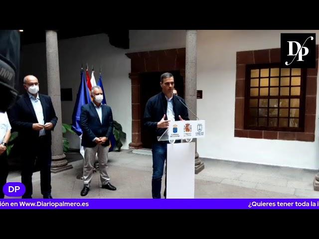 Rueda de prensa del presidente Gobierno de España Pedro Sánchez en La Palma 13/10/2021