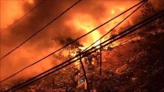 IRVINGTON FIRE DEPARTMENT BATTLING A STUBBORN 3RD ALARM FIRE ON NYE AVENUE IN IRVINGTON, NEW JERSEY.