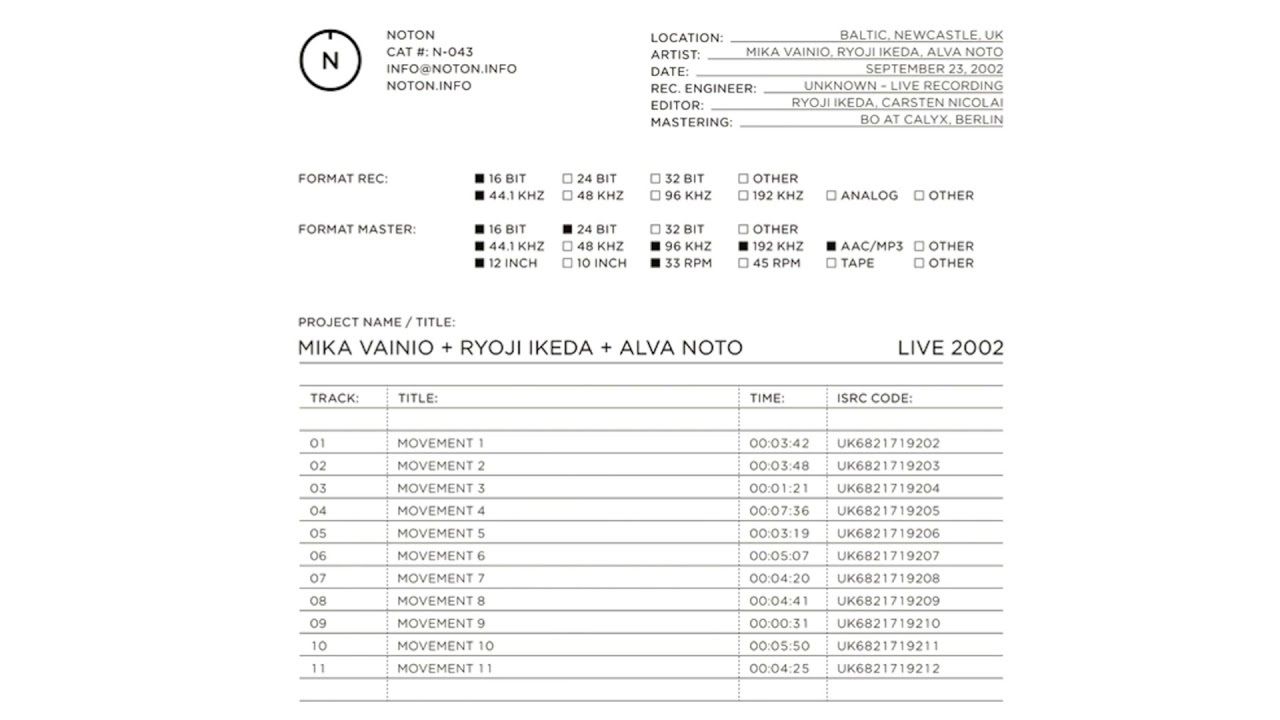 Mika Vainio + Ryoji Ikeda + Alva Noto - Movement 1