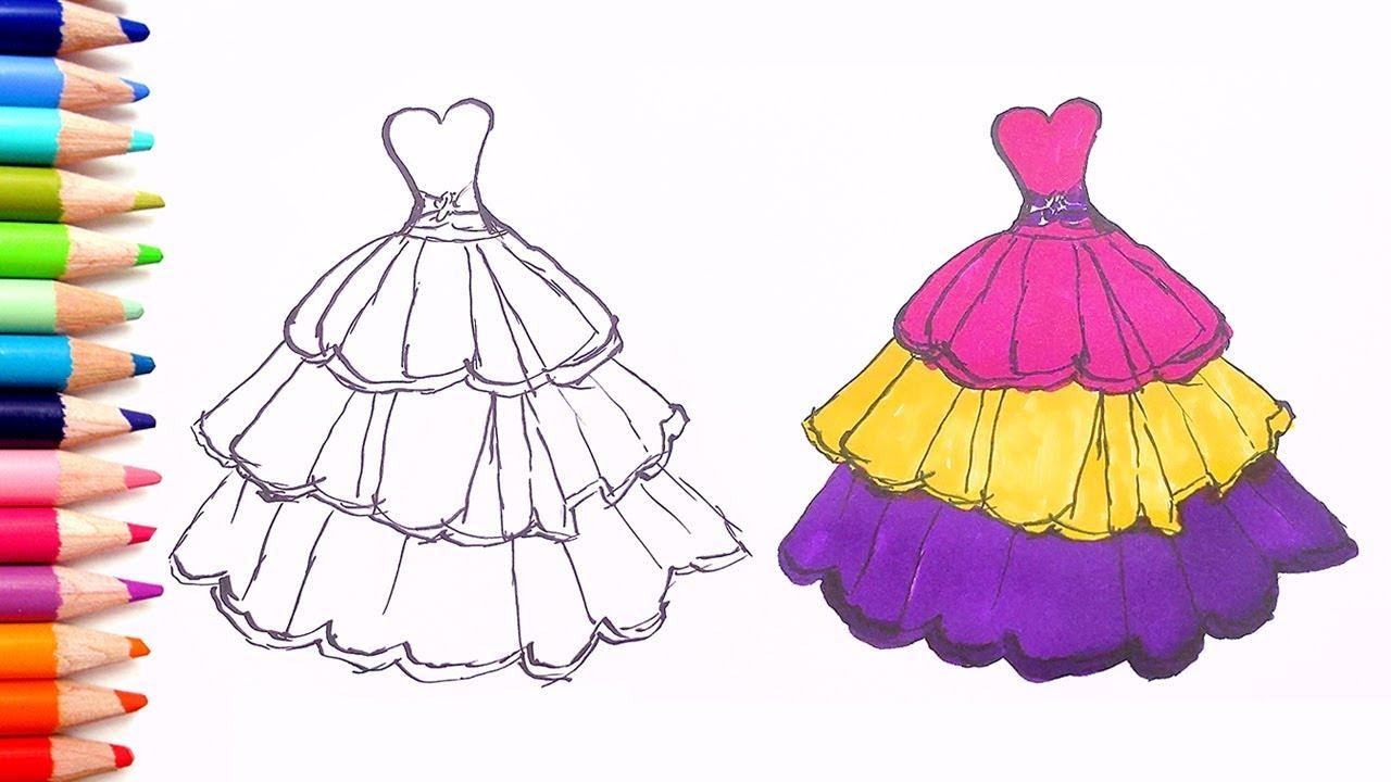 Renkleri Ogreniyorum L Cocuklar Icin Prenses Elbisesi Boyama Oyunu