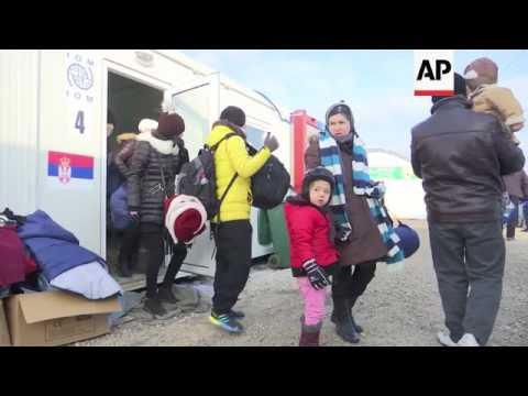 Migrants entering Serbia endure freezing weather