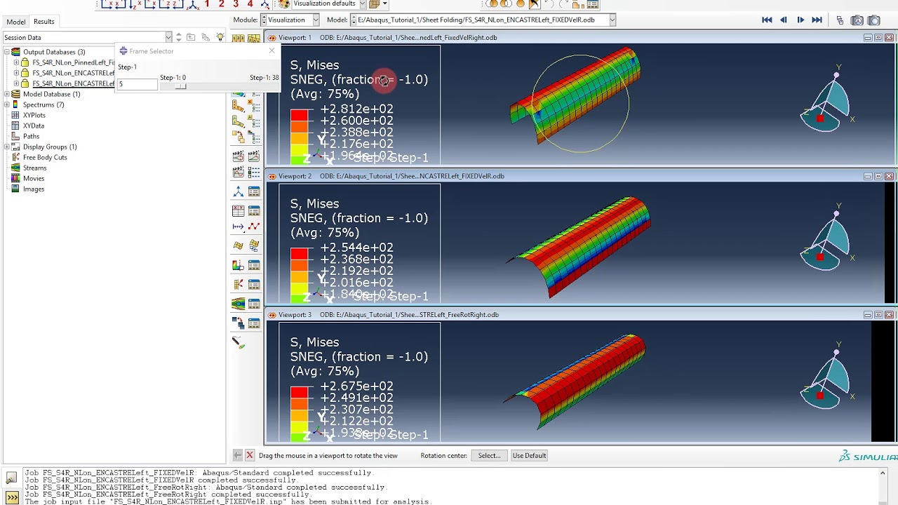 Abaqus Tutorial: Shell Elements #5 Discussion of results (folded sheet)