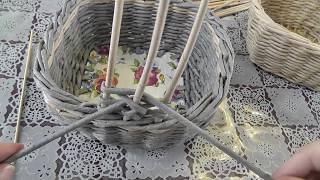 Ажурная ручка для корзины. Плетение из газет