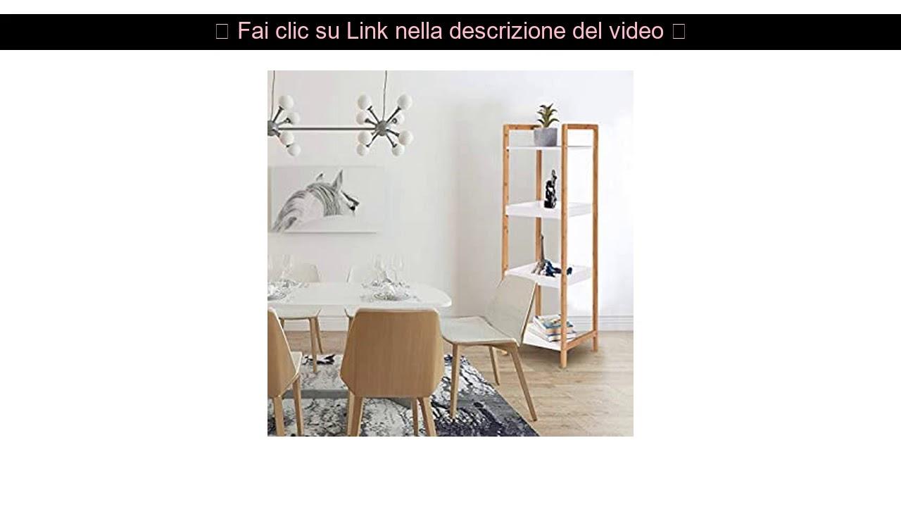 WOLTU Scaffale Multiuso a 4 Ripiani per Bagno Cucina Libreria Mensola Fioriera per Salotto in Legno e bamb/ù RGB9356ws1