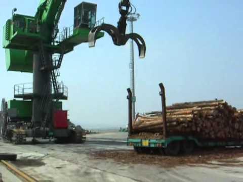 SENNEBOGEN - Timber Handling: Material Handling Machine 880 EQ In Ship Loading With Timber Grab