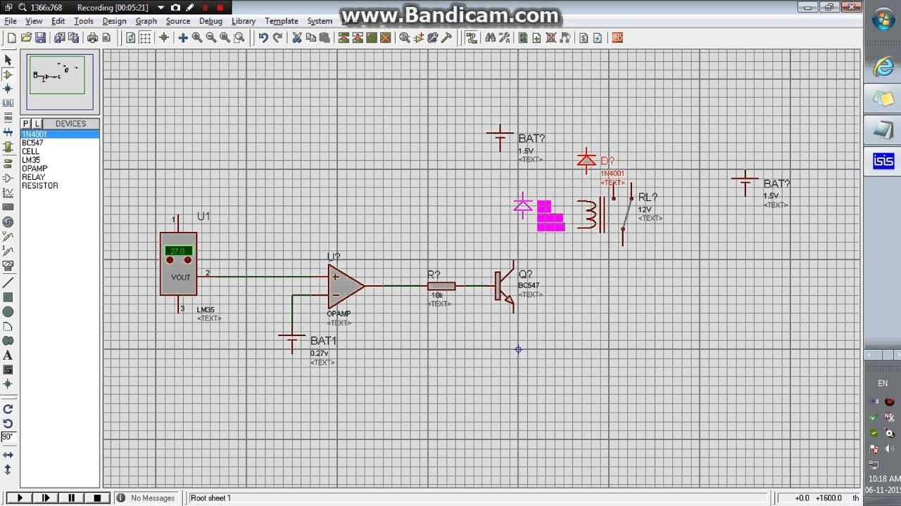 Temperature Sensor Lm35 Opamp And Relay To Control The Fandc Motor Of