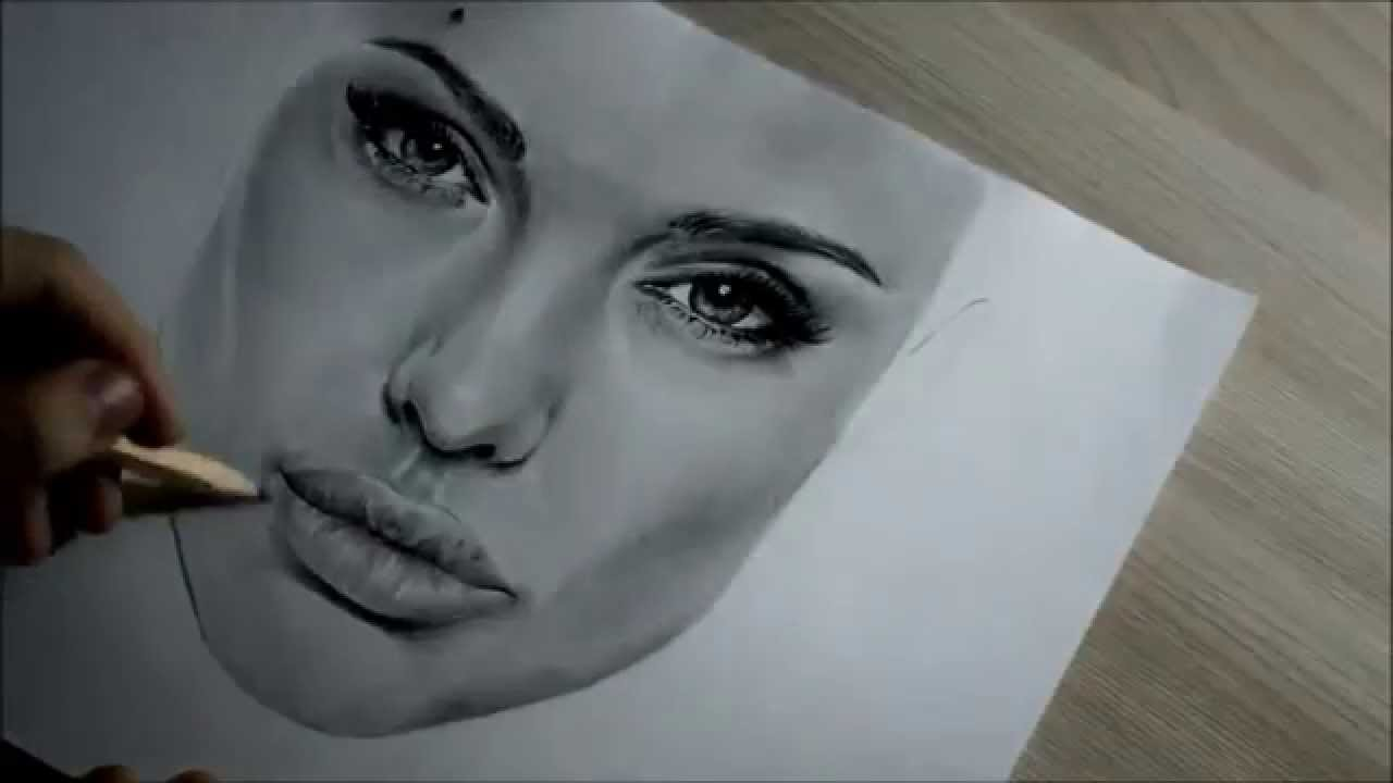 Angelina Jolie Drawing In Pencil