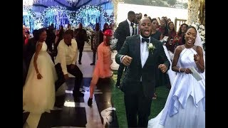 Adekunle Gold surprises Lala Akindoju on her wedding to Chef Fregz.