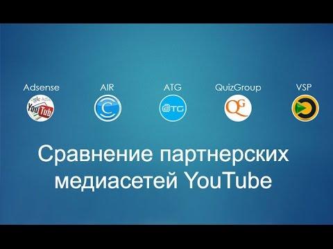 Сравнение партнерских медиасетей YouTube: AIR, ATG Media, Quiz Group, VSP