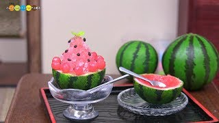 DIY Miniature Watermelon Shaved Ice (Fake food) ミニチュアスイカかき氷作り
