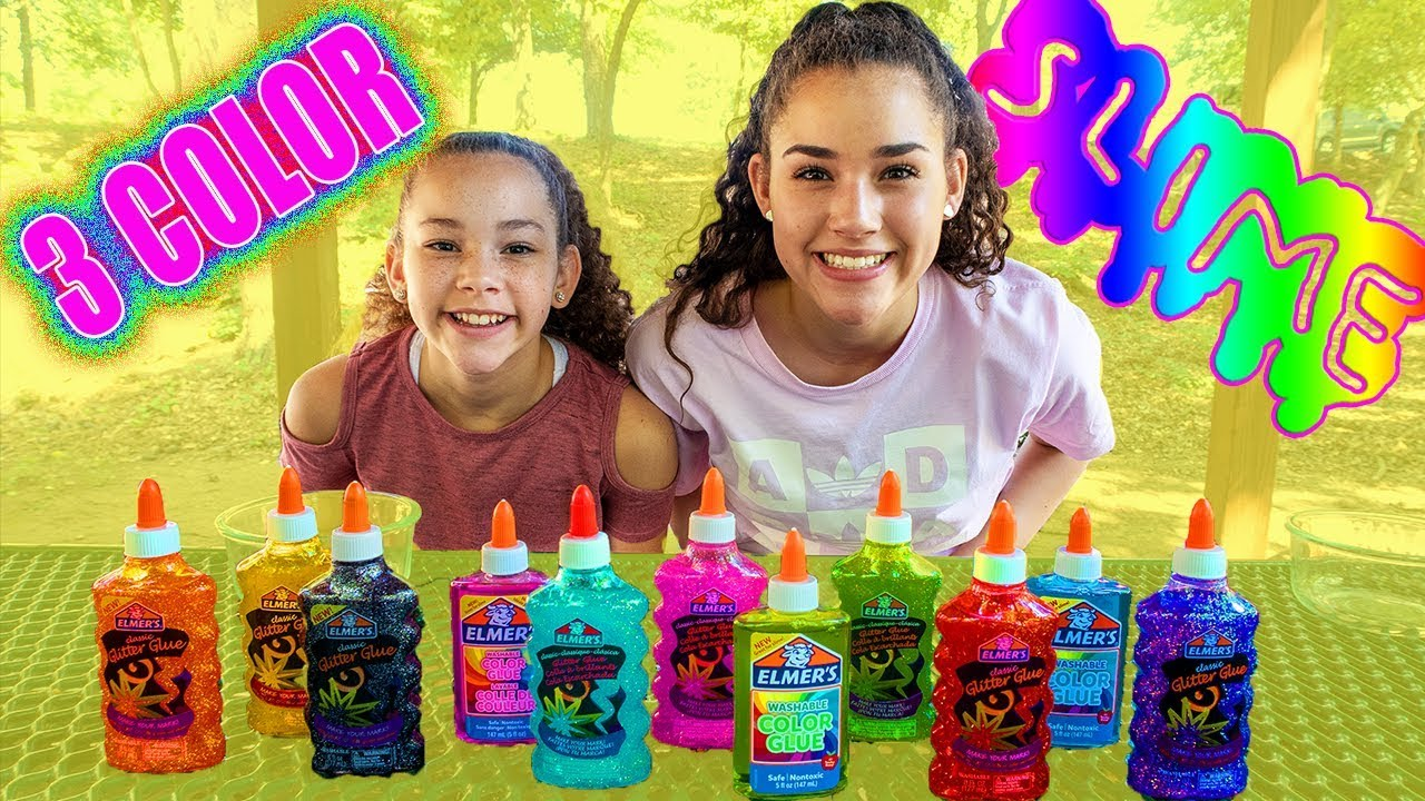 3 Colors Of Glue Slime Challenge New Colors Youtube
