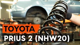Byta Fjäder fram vänster höger på TOYOTA PRIUS Hatchback (NHW20_) - videoinstruktioner