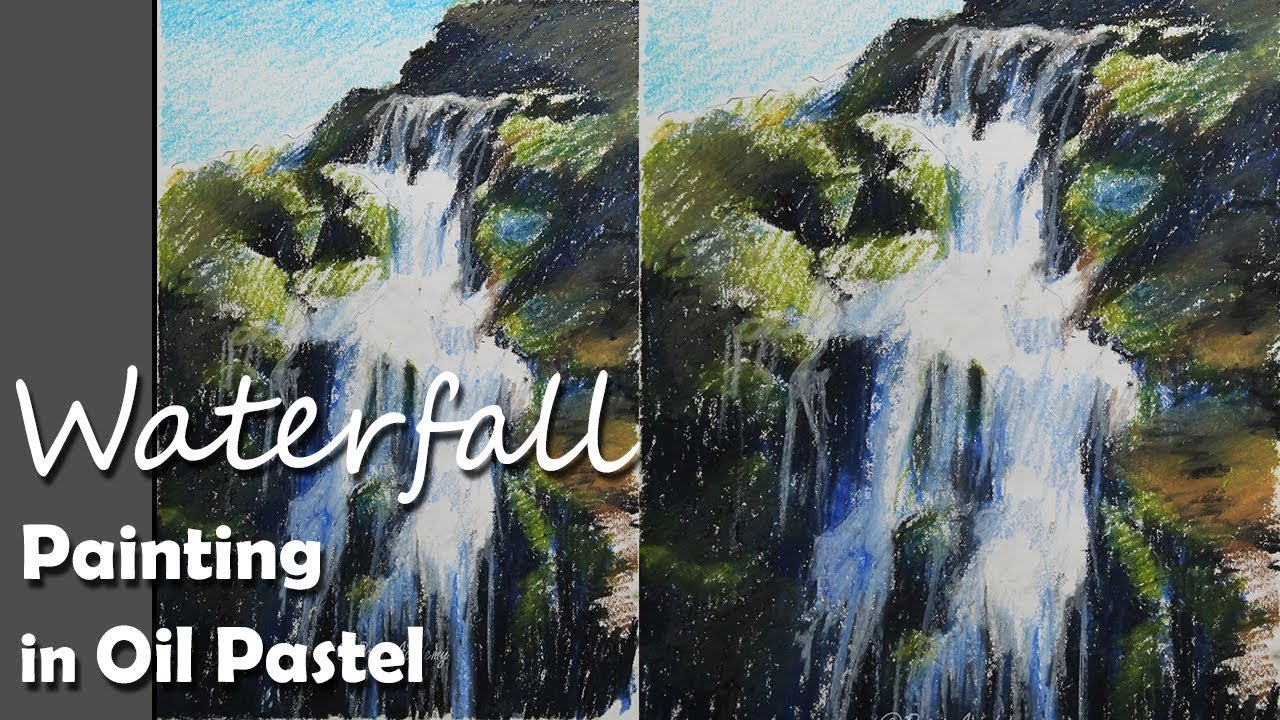 how to draw a realistic waterfall in oil pastel step by