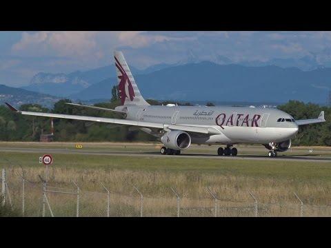 [FullHD] Qatar Airways Airbus A330-200 landing & takeoff at Geneva/GVA/LSGG