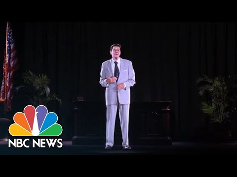 Ken Holiday - Ronald Reagan hologram greets people @ RR library