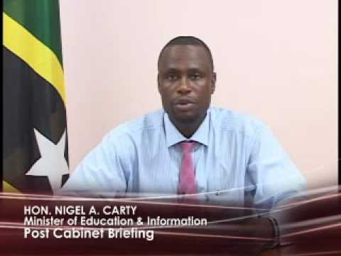 St. Kitts & Nevis Post-Cabinet Briefing by Nigel Carty (May 10, 2010)