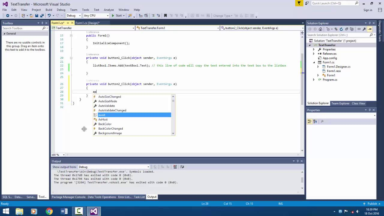 Visual Studio C# - Add items to a listbox using a textbox