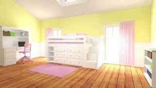 Little Girl's Bedroom Furniture System In Action