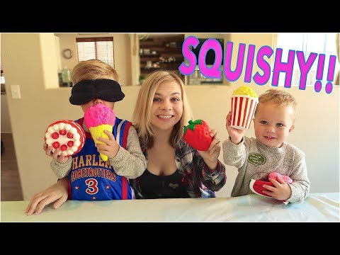 Guess The Squishy Food Challenge! W/ Ollie and Finn! // SoCassie