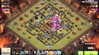 Clash of Clans : The most Amazing Lavallon attack on max TH 10 Blue walls