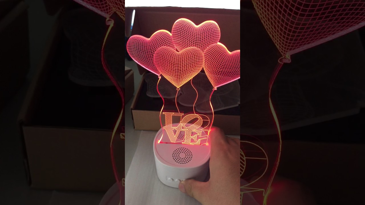 3D Night Light Lamps With Bluetooth Speaker,Sound Activated Mode Sync With  The Music