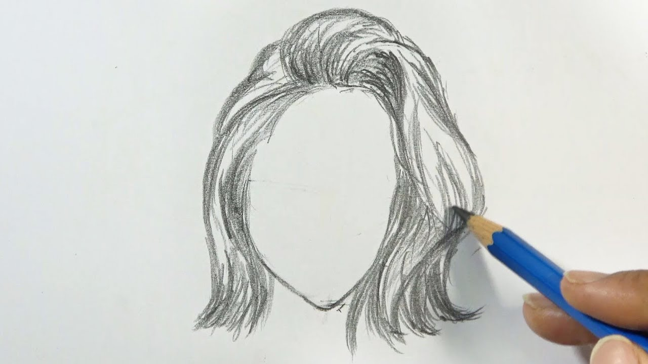 How to Draw Short Hair Styling for Woman | Pencil - YouTube