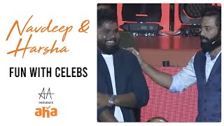 Navdeep & Harsha Fun With Celebs | Allu Arjun Presents Aha Grand Reveal | Geetha Arts