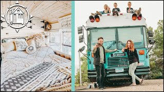 Family of 5 Living in SCHOOL BUS Tiny Home w/ Mobile Salon