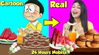 Eating Like Nobita For 24 hours..   Doraemon's *Doracake* in Real Life *Yummy*
