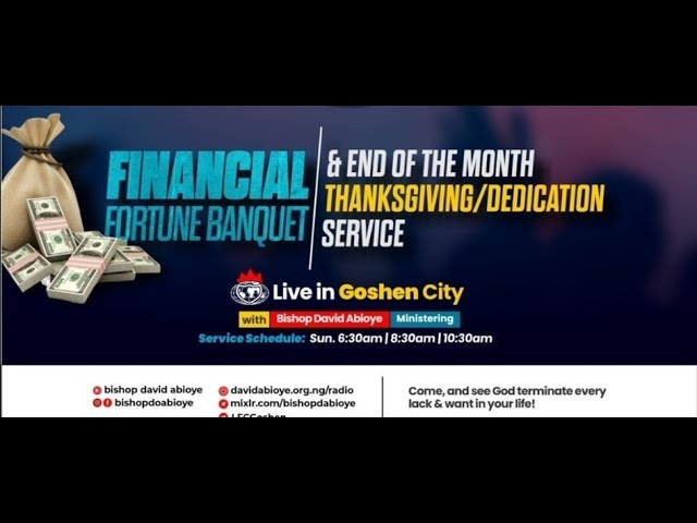 FINANCIAL FORTUNE BANQUET (END OF THE MONTH THANKSGIVING) - 1st SERVICE (26/7/20)