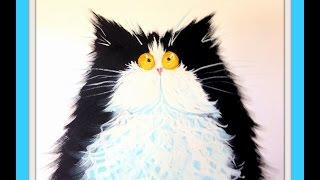 Рисуем кота гуашью, по мотивам Kim Haskins