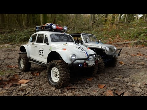 AXIAL SCX10, Jeep JK Rubicon + CARISMA Beetle 'Offroad-Herbie' - YouTube