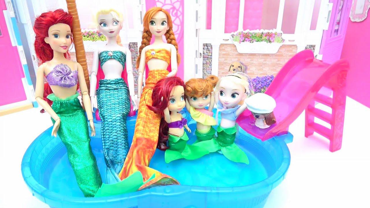 アナと雪の女王 プリンセスが人魚に変身★着せ替えごっこ プールでマーメイド プリンセスに大変身 ✨ 人魚 手作り工作 DIY❤️ Barbie Dolls Mermaid Crafts