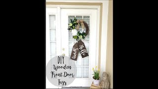 DIY WOODEN FARMHOUSE FRONT DOOR TAGS TUTORIAL