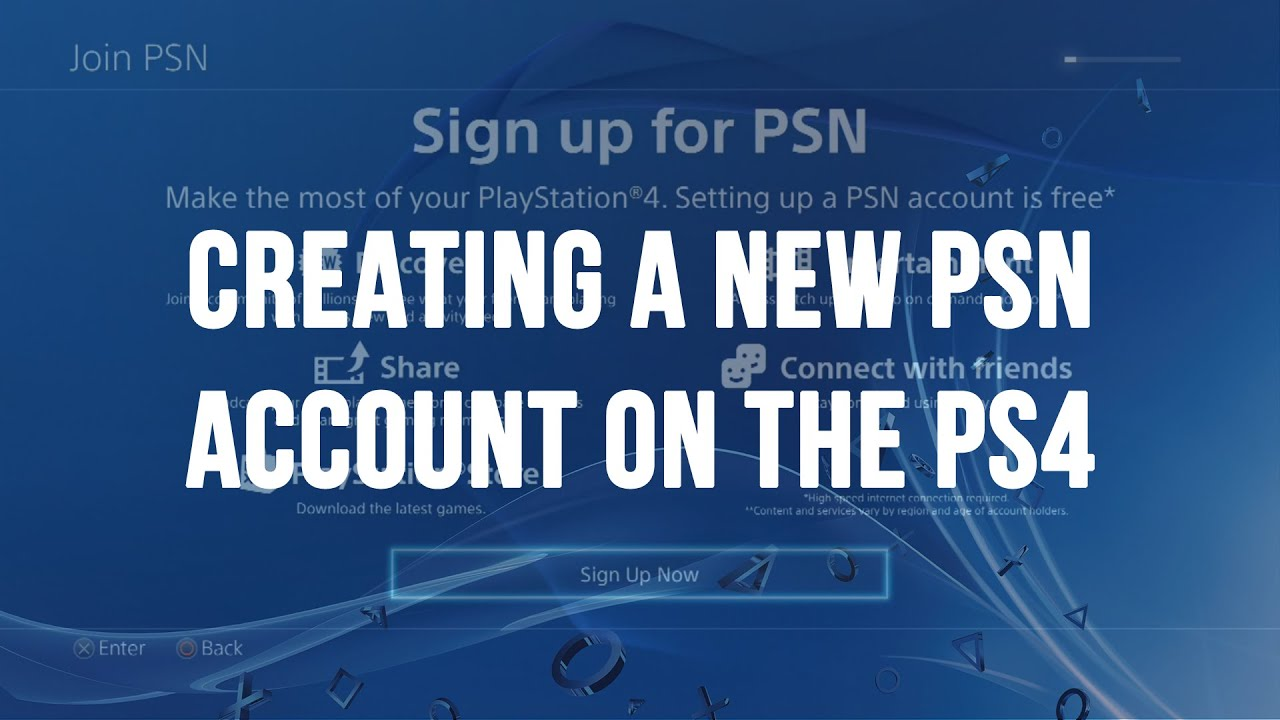 Creating a New PlayStation Network (PSN / SEN) Account on the PS4 - YouTube