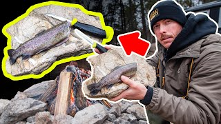 Cooking Trout with HOT Rock (Primitive Fire)