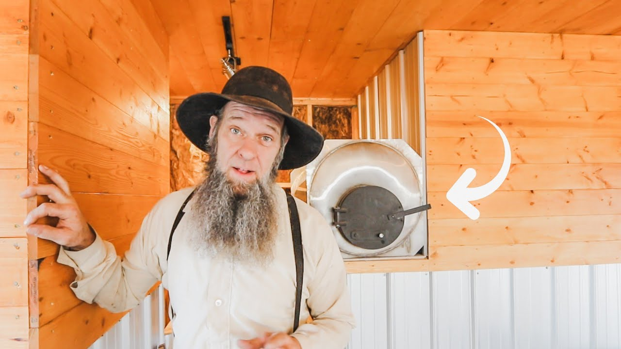 Amish made  hot water tank | stovepipe install | off grid rain water system