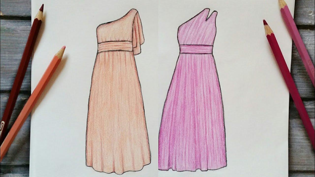 رسم سهل تعليم رسم فستان سهل خطوة بخطوة رسم كيوت سهل Youtube