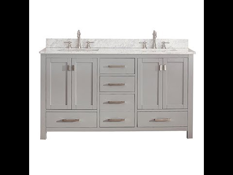 White Bathroom Vanity with Marble Top