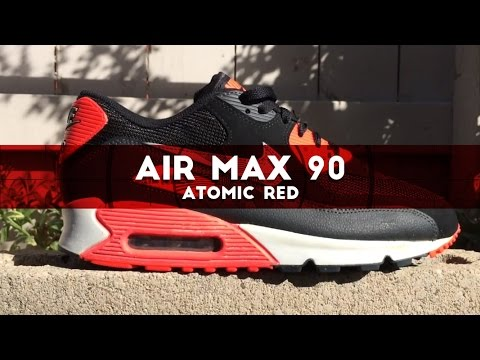 nike air max 90 essential black atomic red