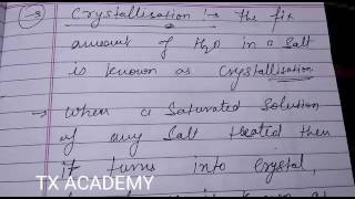 Class 10th Science - What Is Crystallisation Process With Example ? - TX ACADEMY