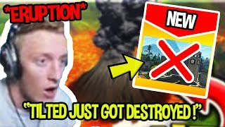 STREAMERS SHOCKED AT VOLCANO ERUPTING & DESTROYING TILTED TOWERS *WORLD CUP*| Fortnite Funny Moments