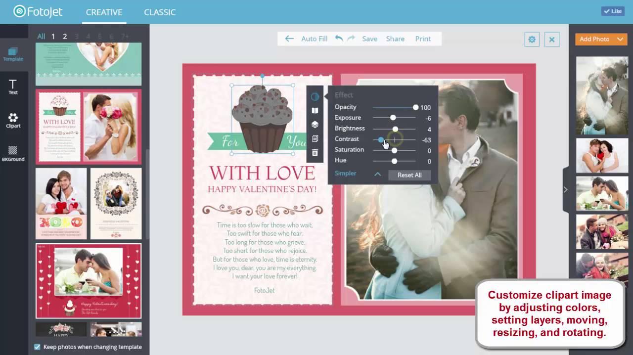 How to Make Creative Valentine Card Online with FotoJet YouTube – Make Valentine Card Online