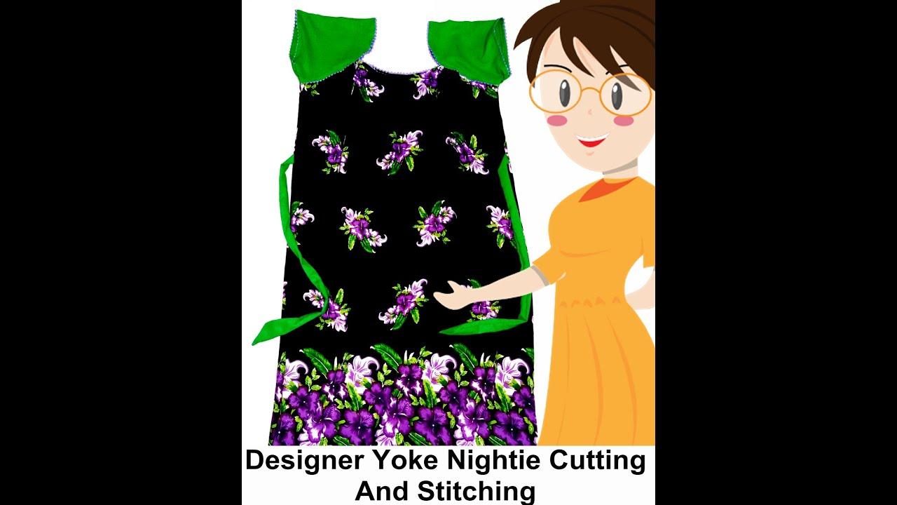 Designer Yoke Nightie Cutting And Stitching | Raglan Sleeves | DIY ...