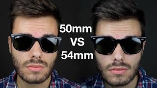 Ray-Ban Wayfarer 50mm vs 54mm(Ray-Ban RB2140 Wayfarer 50mm vs 54mm On face comparison ▻Buy 50mm Wayfarer here: http://amzn.to/29zqJj7 ▻Buy 54mm Wayfarer here: ..., 2016-07-11T20:42:31.000Z)
