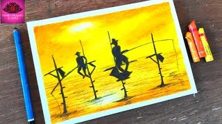 How to draw fishing in sunset with oil pastel step by step
