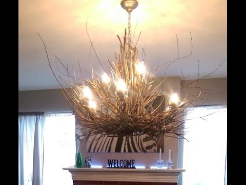 Twig chandelier diy rustic light fixture project youtube aloadofball Images