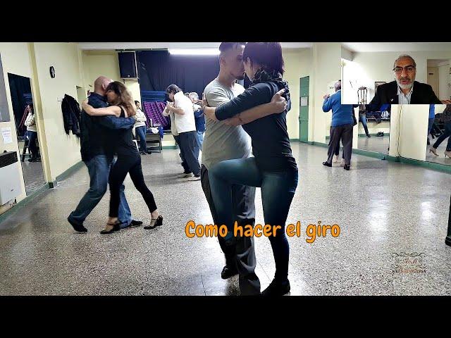 Como es el giro en el baile social del tango Buenos Aires. Antonela Mendez, Raul Moure