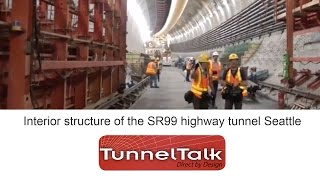 Interior structure of the SR99 highway tunnel  Seattle